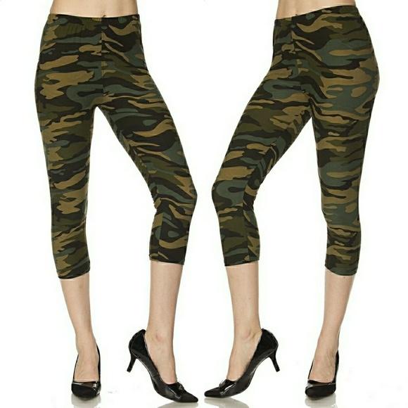 ec2b42093b77e Pants | Nwt Ultra Milky Soft Green Camo Capri Leggings | Poshmark